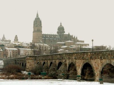 Vista de Salamanca con nieve. Puente romano y catedral - Salamanca, Salamanca, Castilla y León