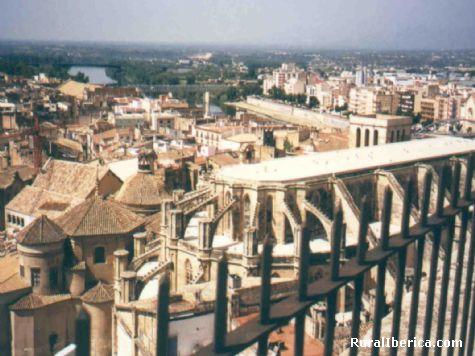 Vista de la Catedral de Tortosa desde el Parador. Tortosa, Tarragona - Tortosa, Tarragona, Cataluña